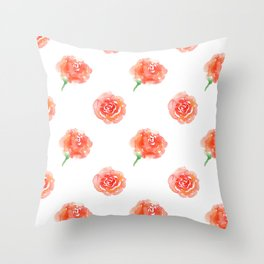 Red Abstract Roses Throw Pillow