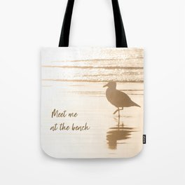 Meet Me at the Beach (typography) Tote Bag