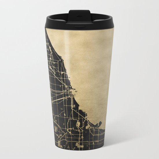 Chicago Black and Gold Street Map Metal Travel Mug