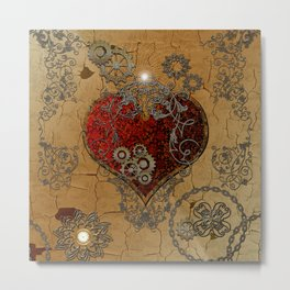 Steampunk, awesome heart Metal Print