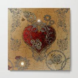 Steampunk, awesome heart Metal Print