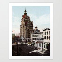 Wisconsin Street In Milwaukee - 1900 Photochrom Art Print