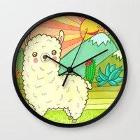 alpaca Wall Clocks featuring Alpaca by My Zoetrope