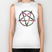 pentagram Biker Tanks featuring Pentagram by YEAH RAD STOKED