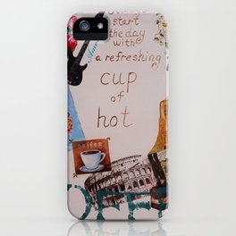 Collage happiness Coffee quote motivation shabby chic by Ksavera iPhone Case