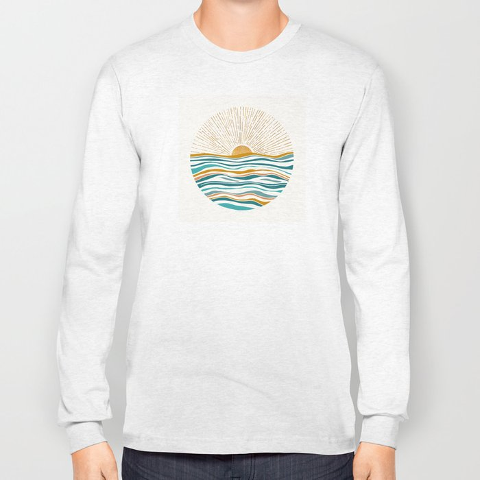 The Sun and The Sea - Gold and Teal Long Sleeve T-shirt