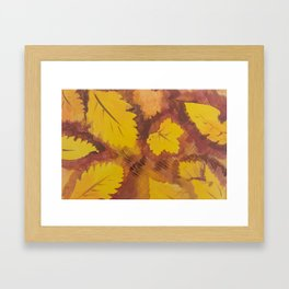 Yellow Autumn Leaf and a red pear painting Fall pattern inspired by nature colors Framed Art Print