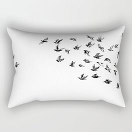 Take Flight Black Birds on White Rectangular Pillow