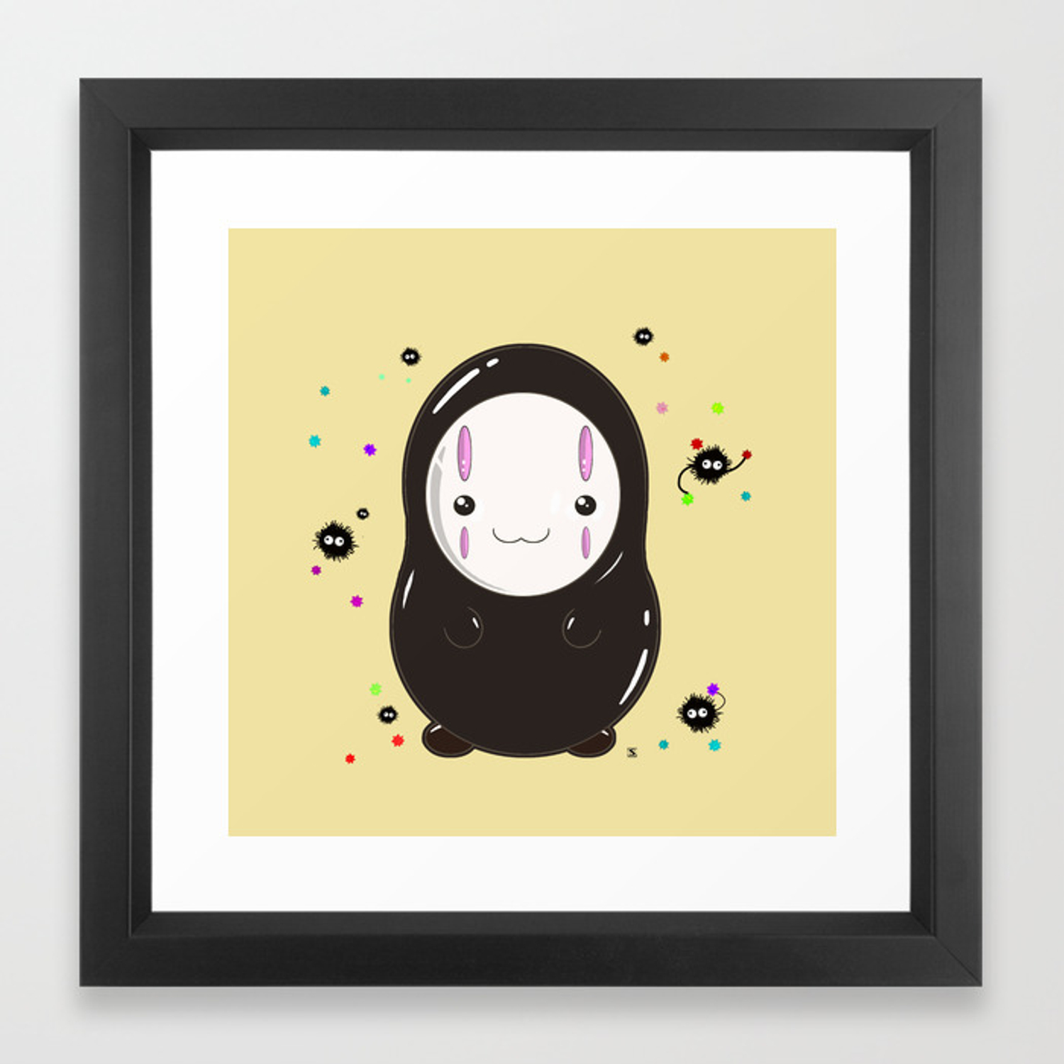 Spirited Away No Face Kawaii With Soot Sprites Framed Art Print By Steelartstudios Society6