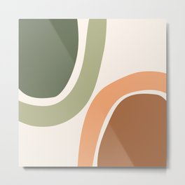 Abstract Shapes 55 in Sage Green and Terracotta (Rainbow Abstraction) Metal Print