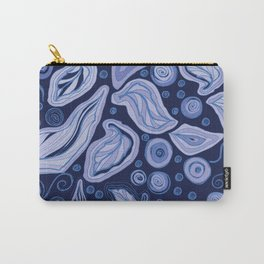 Doodle leaves and polka dots to holiday gifts - blue Carry-All Pouch