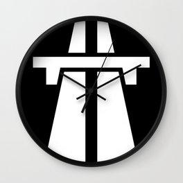 Freeway, Motorway, Autobahn - White on Black Wall Clock