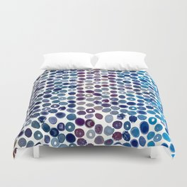 Watercolor Brush Strokes and Splashes Pattern in Cobalt, Violet and Ocher Duvet Cover