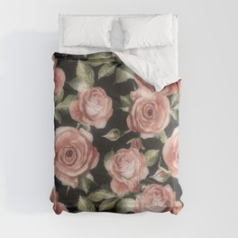 Classic Pink Roses On Black Comforters