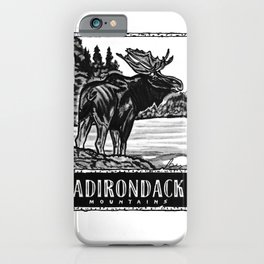 'ON THE LOOSE' Original Adirondack Decor, Moose Drawing, Mountains Wall Art Decor iPhone Case
