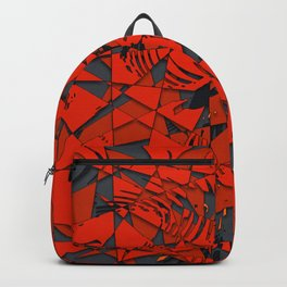 Red and Grey Abstract Mosaic Pattern Backpack
