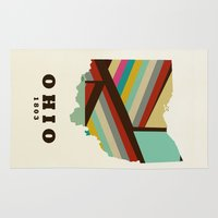 ohio state Area & Throw Rugs featuring Ohio state map modern by bri.buckley