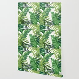 Green tropical leaves II Wallpaper