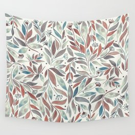 Leafy Blue Wall Tapestry