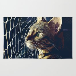 bengal cat yearns for freedom vector art foggy night Rug