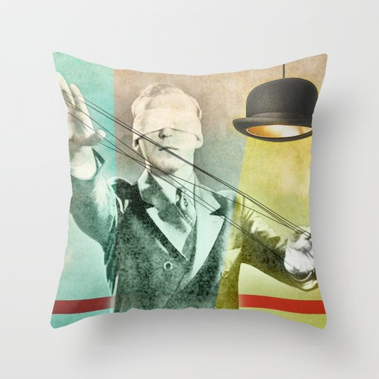 Blindfold bowler Throw Pillow