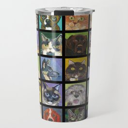 Cats and Dogs in Black Travel Mug