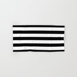 Midnight Black and White Stripes Hand & Bath Towel