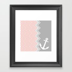 Coral Nautical Chevron  Framed Art Print