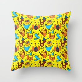 Crazy Birds Throw Pillow