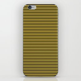 Even Horizontal Stripes, Yellow and Black, XS iPhone Skin