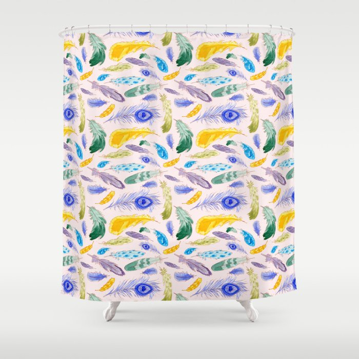 Jewel Tone Feathers Shower Curtain