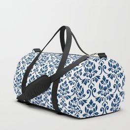 Feuille Damask Pattern Dark Blue on White Duffle Bag