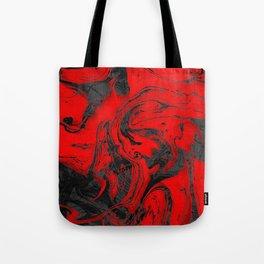 Black & Red Marble Tote Bag