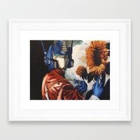 optimus prime Framed Art Prints featuring Optimus Prime With Sunflower by Hillary White
