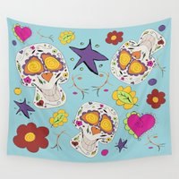 sugar skulls Wall Tapestries featuring Groovy Sugar Skulls by TheRusticHome