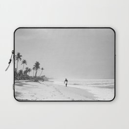 Back and white surf beach photo Laptop Sleeve