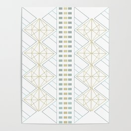 Gold Aqua Geometric Pattern 1.0 Poster