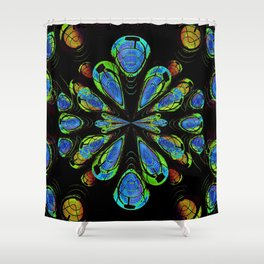 Blue Orby Abstract Shower Curtain