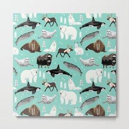 Arctic animals kids pattern gifts boys and girls nursery decor Metal Print