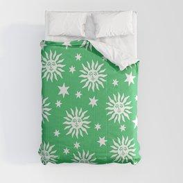 Mid Century Modern Sun and Star Pattern Green Comforters