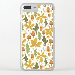 Autumn Forest Floor Pattern - White Clear iPhone Case