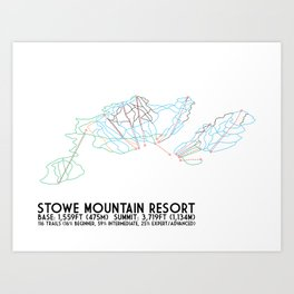 Stowe Mountain Resort, VT - Minimalist Trail Art Art Print