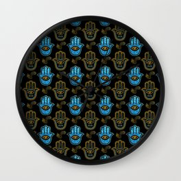 Hamsa Hand pattern - Gold and Blue glass Wall Clock