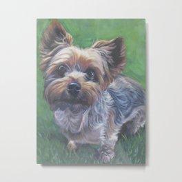A realistic Yorkshire Terrier Portrait by L.A.Shepard fine art painting Metal Print