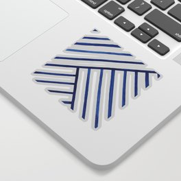 Watercolor lines pattern | Navy blue Sticker