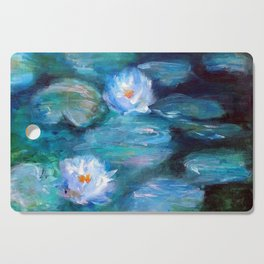 Blue Water Lilies Cutting Board