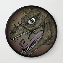 Brown dragon illustration Wall Clock