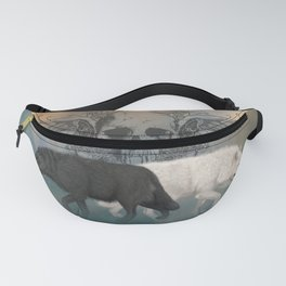 Awesome black and white wolf with skull Fanny Pack
