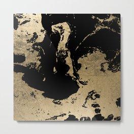 Elegant faux gold foil black chic marble pattern Metal Print