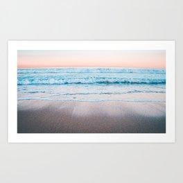 Blue orange beach Art Print